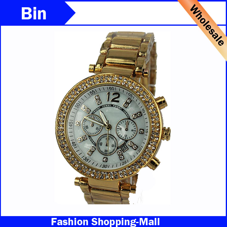 Гаджет  2015 Famous Designer Women Rhinestone Watches Fashion Dress Michael Ladies Auto Date Watch Relogio Feminino Dourado Clock None Часы