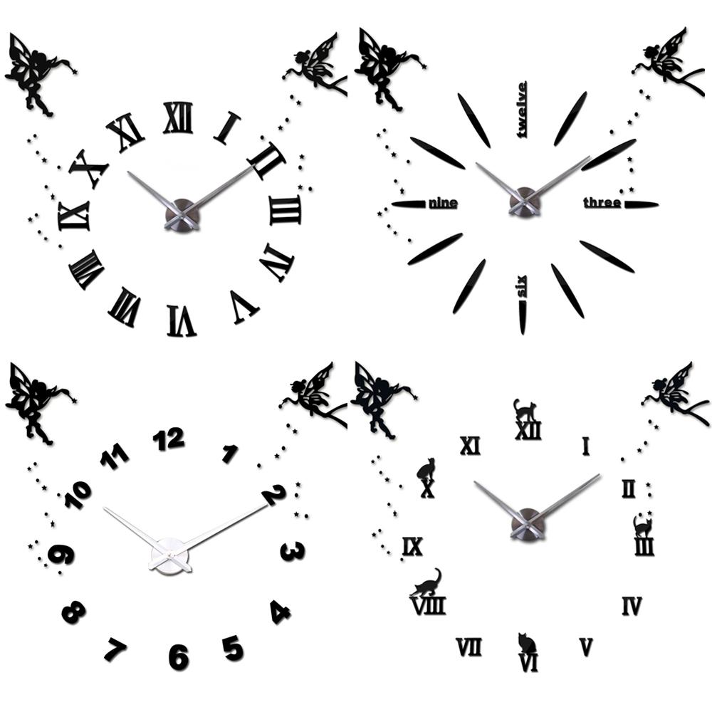 25''-40'' Large Oversized DIY 3D Wall Clock Angel Guardian Digital Big Mantel Clocks Quartz Retro Mirror Wall Sticker Clock(China (Mainland))