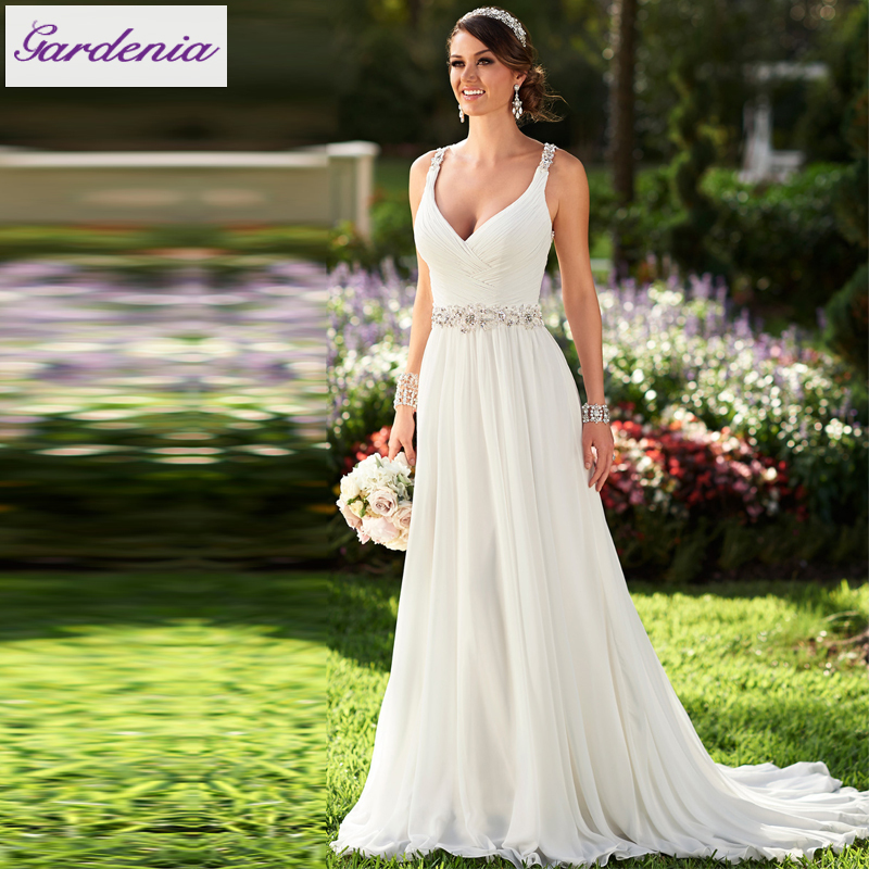 Vestidos de novia sexy flowing chiffon beach wedding dress for Wedding dresses under 150 dollars
