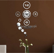 New Trendy Creative-Mode  DIY 3D Home Modern Decoration Mirror Wall Sticker Living Room Bedroom Wall Clock Silver(China (Mainland))