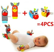 Free shipping (4pcs=2 pcs waist+2 pcs socks)/lot,baby rattle toys Sozzy Garden Bug Wrist Rattle and Foot Socks(China (Mainland))