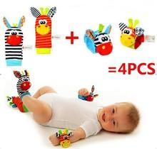 Livraison gratuite ( 4 pcs = 2 pcs taille + 2 pcs chaussettes ) / lot, Bébé hochet jouets Sozzy jardin poignet Bug Rattle et chaussettes pied(China (Mainland))