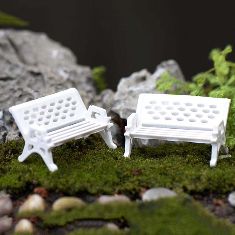 Micro Miniature Fairy Garden White Resin Wicker Settee Chair with Pink Seat KT0175(China (Mainland))