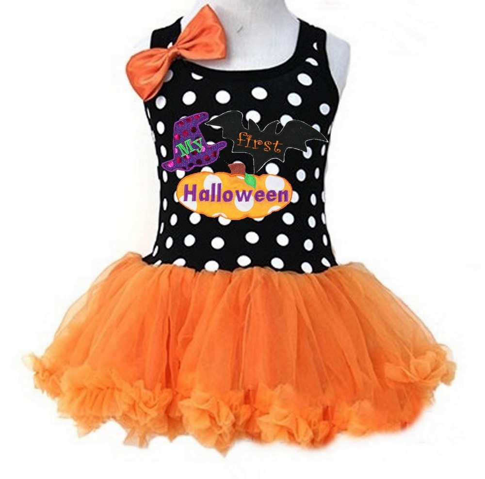 Girls Halloween Black Orange Polka Dots Rhinestone Cutest Pumpkin , My First Halloween Tutu Party Dress 1-4Y(Hong Kong)