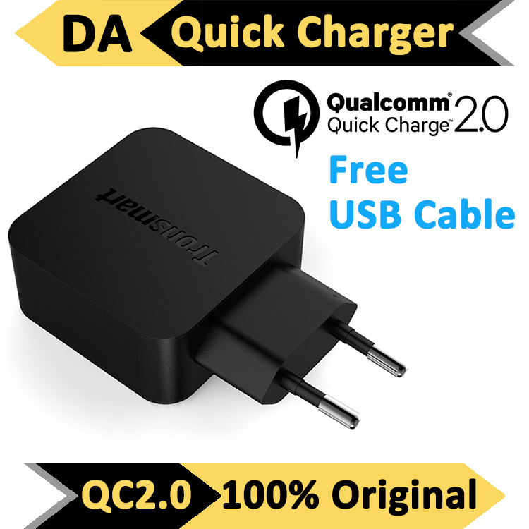 [for Qualcomm Certified] EU / US Plug Tronsmart Wall Charger with Quick Charge 2.0 2 for Samsung Galaxy for HTC For Sony Turbo(China (Mainland))