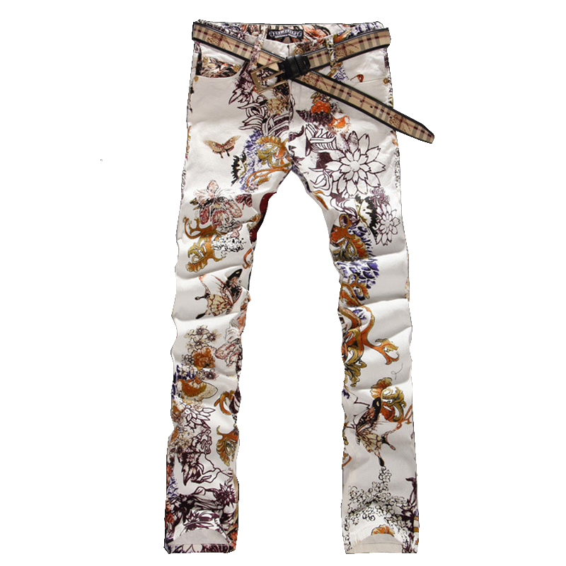 Men's fashion jeans male slim colored drawing flower printed long trousers painted pattern print denim pants(China (Mainland))