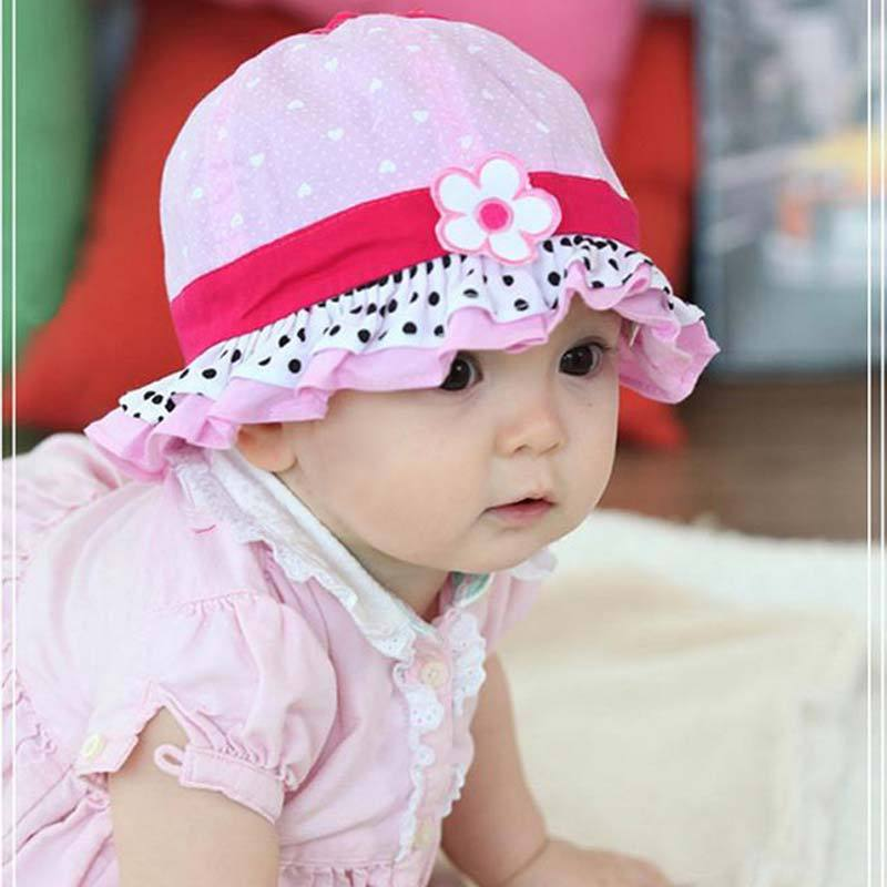1 PC Cotton Summer Hat Cap Infant Flower Lace Caps Hat Baby Child Sun Polka Bucket Hats<br><br>Aliexpress