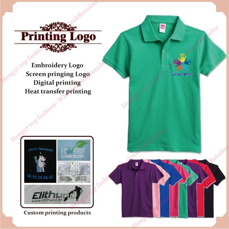 Wholesale retail logo printing custom tops polo shirts men for Custom printed polo shirts cheap