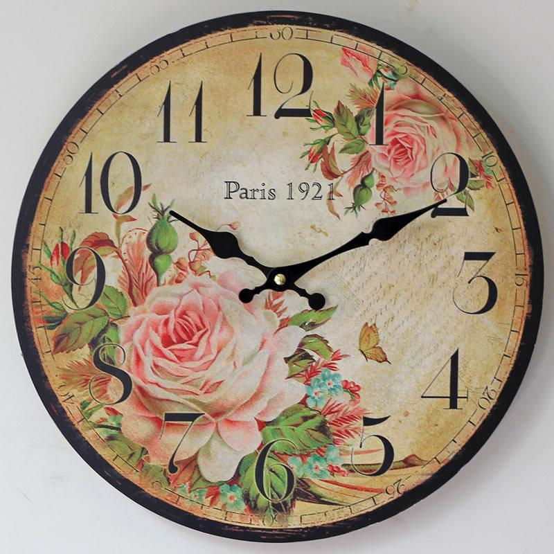 Paris Country Home Decoration Large Wall Clock Silent Wall Clock Vintage Home Decor Fashion Big Wall Watches Rustic Style 0002z