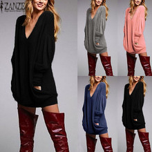 Buy ZANZEA Oversized Women Casual Solid Long Blouse Spring Long Sleeve V neck Loose Pockets Shirts Pullover Plus Size Blusas for $8.96 in AliExpress store