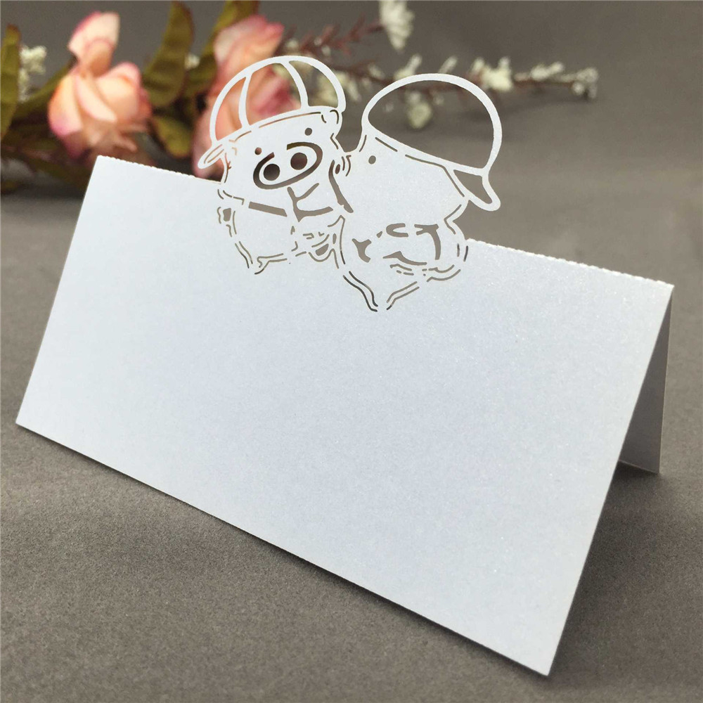 Small and Exquisite Place Cards Romantic Name Card Adorable Pig/ Rose Pattern Place Card Romantic Seat Card for Party Wedding(China (Mainland))