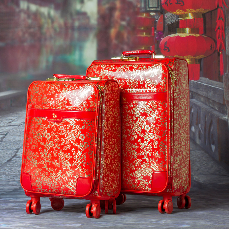 Red marry vintage luggage trolley suitcase universal wheels travel bag box luggage,female married 20 24 pu leather