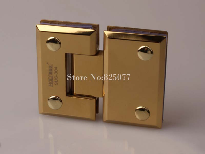 Free shipping PVD titanium 180 Degrees open 304 Stainless Steel Wall Mount Glass Shower Door Hinge Hypotenuse Hinge HM162(China (Mainland))