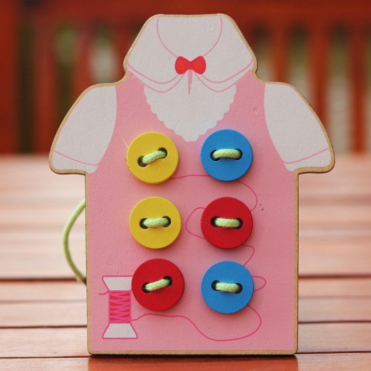 Free delivery hand-eye coordination fine motor fancy handmade toys, sewing buttons game, kids wooden toys(China (Mainland))