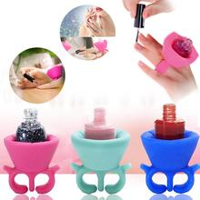 Hot Soft Ring Flexible Display Slicion Stand Durable Milti Universal Wearable Nail Polish Bottle Holder Fits All Finger new(China (Mainland))