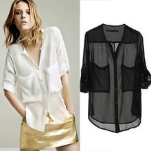 Women Collarless Button-front See-through Long Sleeve Chiffon Shirts Blouse Tops(China (Mainland))