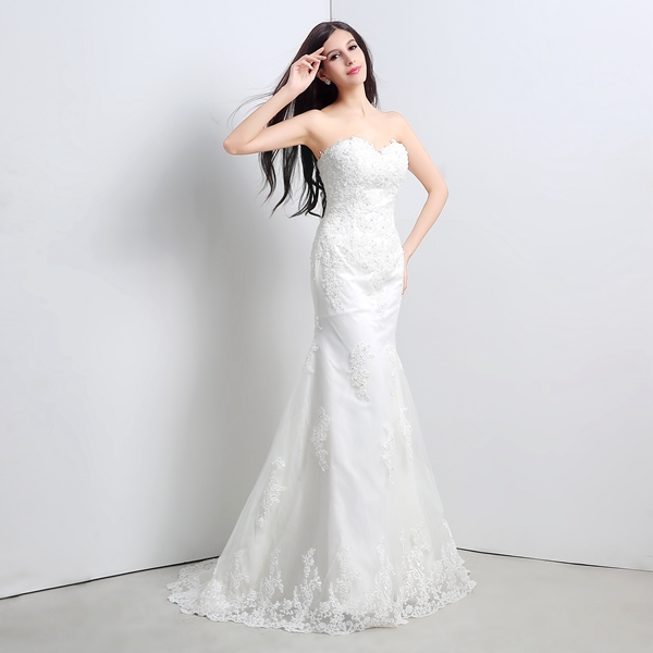 Aliexpress Buy Ready To Ship Cheap Wedding Dresses With Sweetheart Lace Appliques Beads