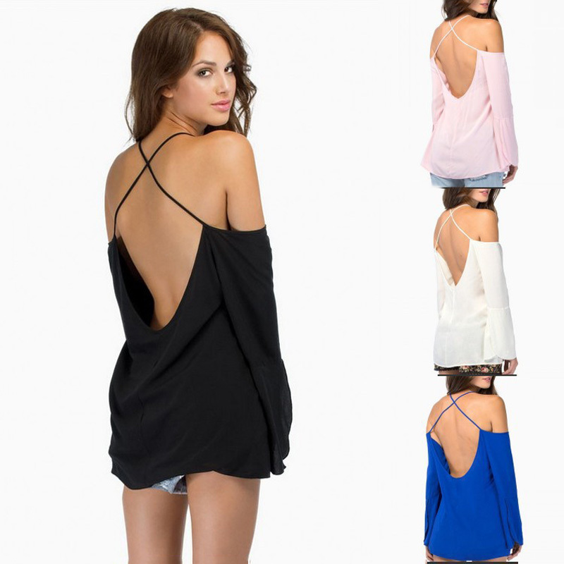 Brief Style Hot Summer Backless Shirt Chiffon Solid Fine Cross Back Straps Loose Blouse Sexy Shirts Cheap Sale(China (Mainland))