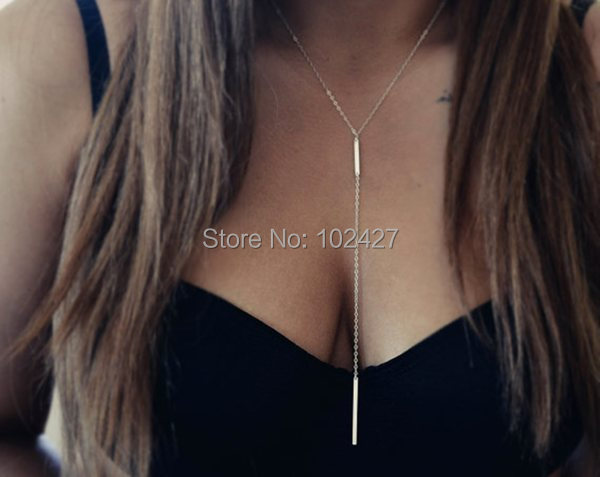 Fashion Womens Unique Gold Plated Bar Lariat Necklaces Geometric Necklace Gold Dainty Jewelry Minimalist Necklace Long