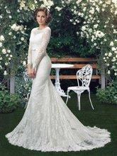 Long Sleeves Mermaid Wedding Dresses With Shawl Sheer Lace Bridal Gowns Elegant Backless Church Wedding Dress Plus Size w6149(China (Mainland))