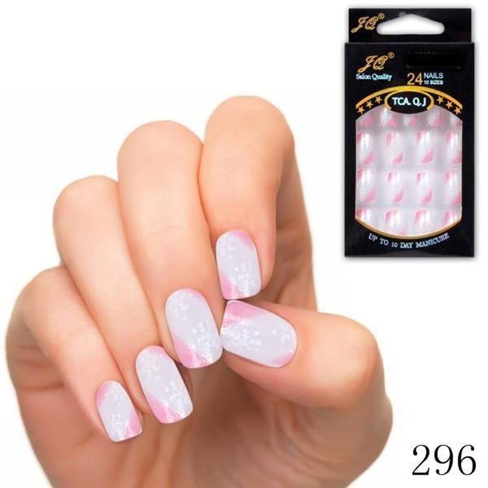 24pc/set Acrylic Pre-designed artificial nail tips nail designs free glue false nails tip shop JQ296(China (Mainland))