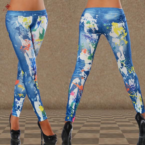 2015 New Design Women Leggings Women Sexy Pants Paint Print Color Pants Women Fashion Casual ...