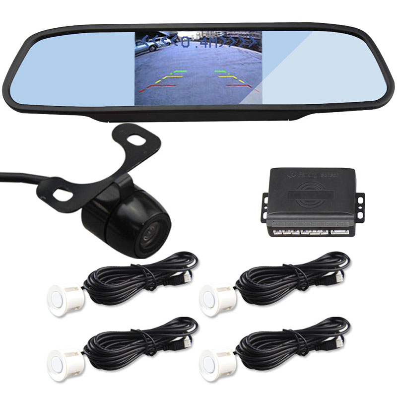 New Arrival Complete Reversing Kit=Rearview Mirror Monitor+Rearview Camera+Parking Sensor Car Detector Radar Free Ship by Post(China (Mainland))