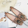 2017 Luxury Brand Designer Shoes Women Bottom Flat Heels Round Toe Shoes Rhinestone Flats Loafers Beading