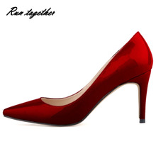 2016 New hot spring summer shoes woman high heels shoes party wedding dress pointed toe lady women pumps slip on heels shoes