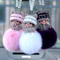 Hot leuke cartoon monchichi pop sleutelhanger strass meisje inlay kristal auto sleutelhanger houder vrouwen bag charm accessoires