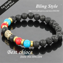 2014 Hot Sale Jewelry Black Lava Energy Stone Beads Gold Buddha Bracelets Wholesale New Products for Men's and Women's GIft(China (Mainland))