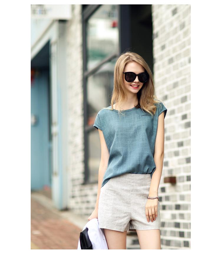 Europe 2015 summer new fashion slim waist linen Shorts Large size clothing wholesale(China (Mainland))