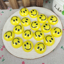Kawaii Flatback DIY Yellow Smile Face Resin Cabochons Flat Back Scrapbooking Hair Bows Embellishment Decoration Crafts