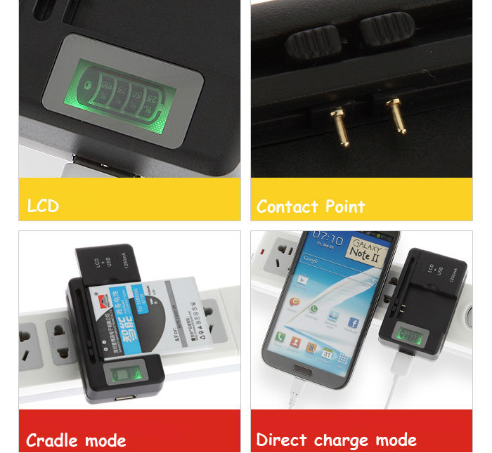 Intelligent USB LCD Wall Travel Charger Mobile Universal Battery Charger Adjustable For Smart Phone PDA for Samsung Battery(China (Mainland))