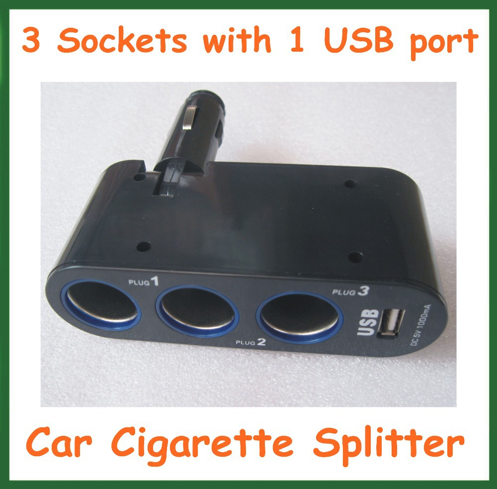 3 Sockets Car Cigarette Lighter Socket Splitter Charger Power Adapter Supply with 1 USB Port DC 5V 1A(China (Mainland))