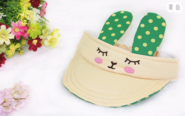 Summer Infant sun hat wave little bunny ears empty top hat children's hats baby cool cap wholesale(China (Mainland))