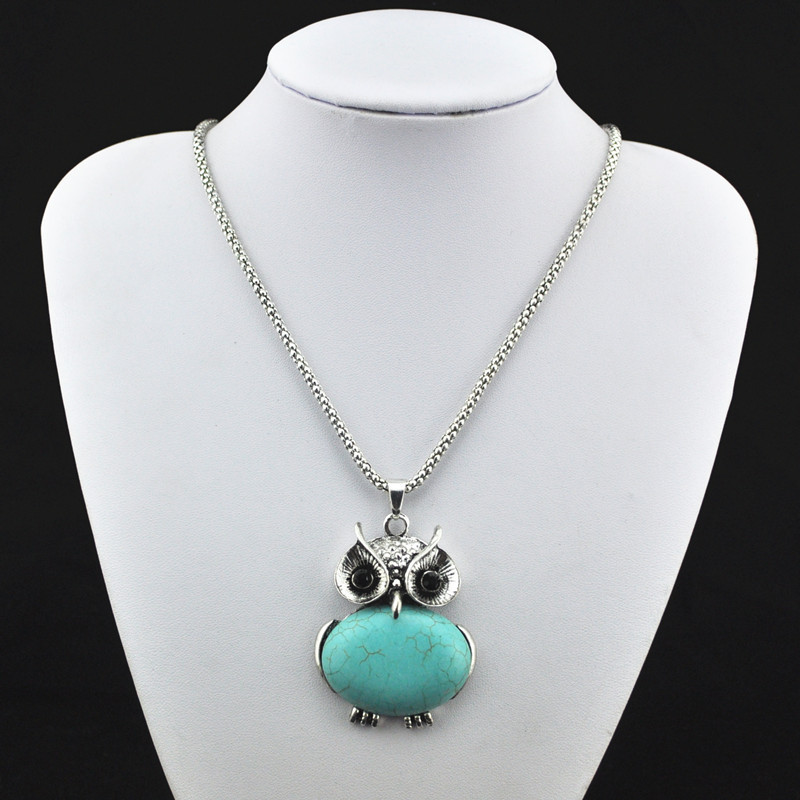 (MIN. ORDER $5)R176H Natural Owl Crystal Turquoise Necklace Pendant Jewlery Women,Vintage,Antique Silver,Tibet Alloy, wholesaler(China (Mainland))
