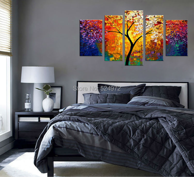 Buy 100% Handpainted modern home decor wall art picture colorful tree thick palette knife oil painting on canvas for living room cheap