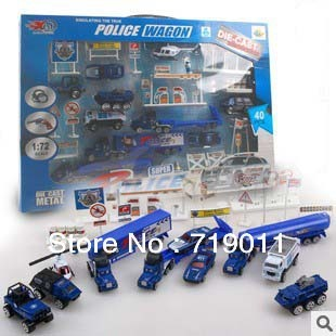 Free shipping Action Cars Toy Set Engineering car and Plane and Road Block Toy Set for Children's Gift