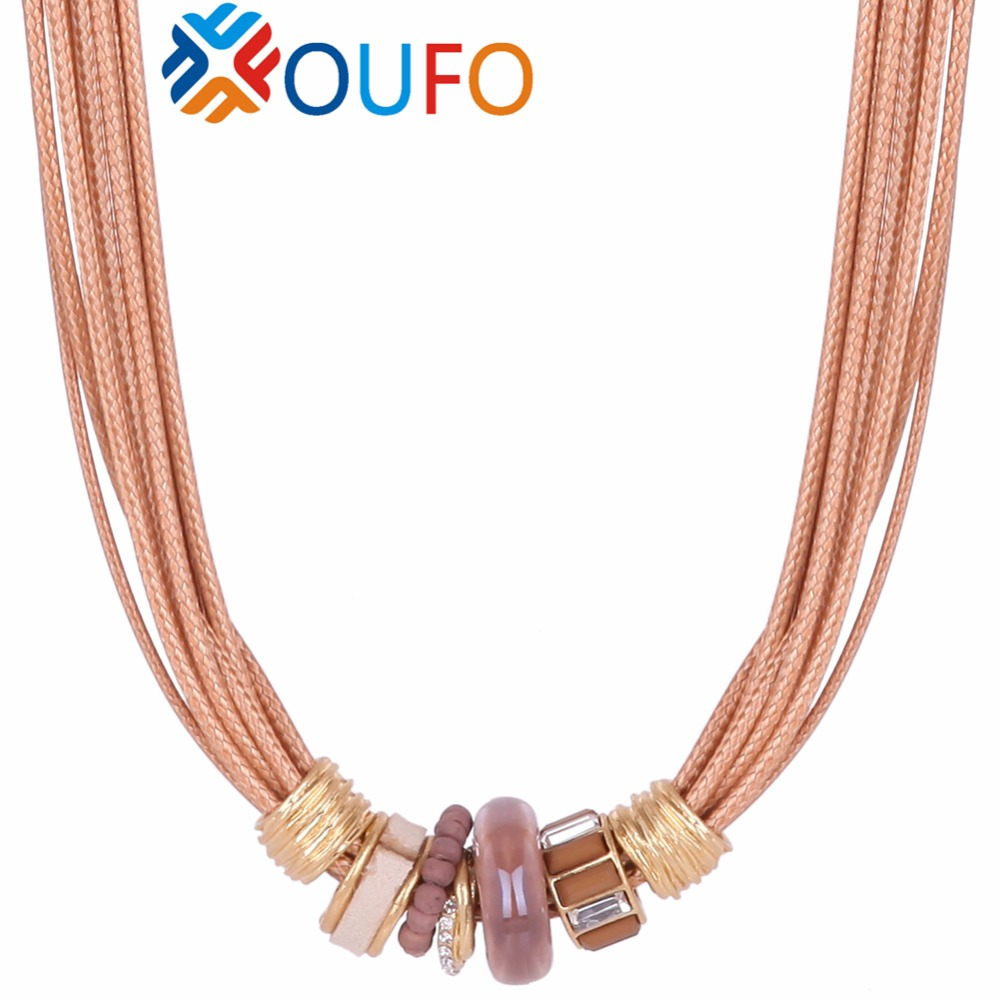 Many Lines Chains Choker Necklace Stone Glod Chain Plant Short Statement Necklaces&Pendant For Women Fashion Jewelry E61089(China (Mainland))