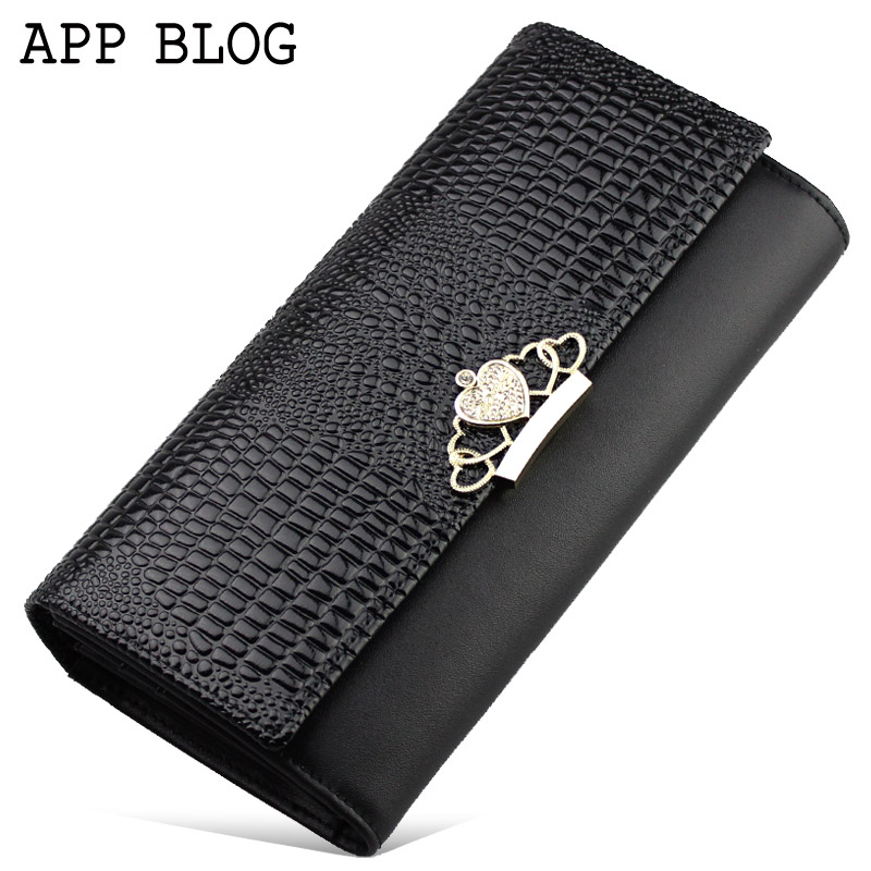 App blog design long wallet female genuine leather crocodile pattern  wallet women's wallet  clutch purses money clip