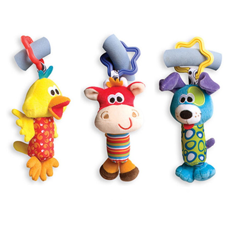 Baby Toys Rattle Tinkle Hand Bell Multifunctional Plush Toy Baby Stroller Rattles Toy Duck, Fawn, Dog(China (Mainland))
