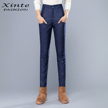 Buy Fast Shipping Women Winter Pants High Waist Duck Down Trousers Warm Slim Pencil Pants Thick High Quality for $29.96 in AliExpress store