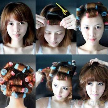 6 шт./компл. липучки ручка льнет укладки волос ролика бигуди парикмахерских инструментов ...