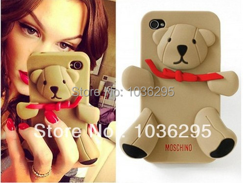 HOT 6 color Milan 3D cute luxury silicone Teddy Bear case iphone 5 5S Retail package + Screen Protector - United States Good Service Best Price store