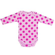 Baby Girl Bodysuits Long-sleeve Cotton Newborn Bodysuits Pink Polka DotsToddler Bubble Infant Jumpsuits Baby Clothing for Girls(China (Mainland))