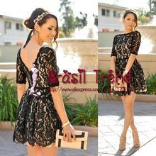 New Arrive Vestidos Fashion Women Black Dresses Lace Round-neck Summer Dress 2015 Brasil Trend Vestido de festa(China (Mainland))
