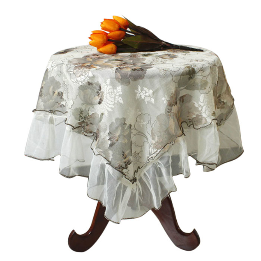 Happy Gifts High Quality Fashion Embroidered White Lace Tablecloth Home Textile Table Cloth Dining Room Hotel Home Decor(China (Mainland))