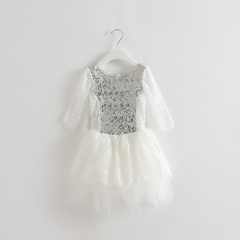 Free shipping long sleeve Princess spring lace sequin party dress Kids spring sequin wedding tutu dancing lace dress clothing(China (Mainland))