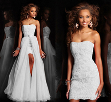 62107 New Design High Low Short Strapless Pure White Wedding Dress Bridal Gown Detachable removeable Skirt